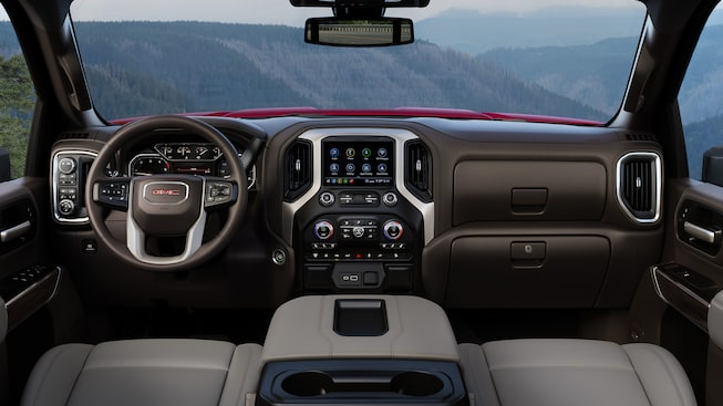 2020 GMC Sierra Heavy Duty Pickup Truck: infotainment system and steering wheel
