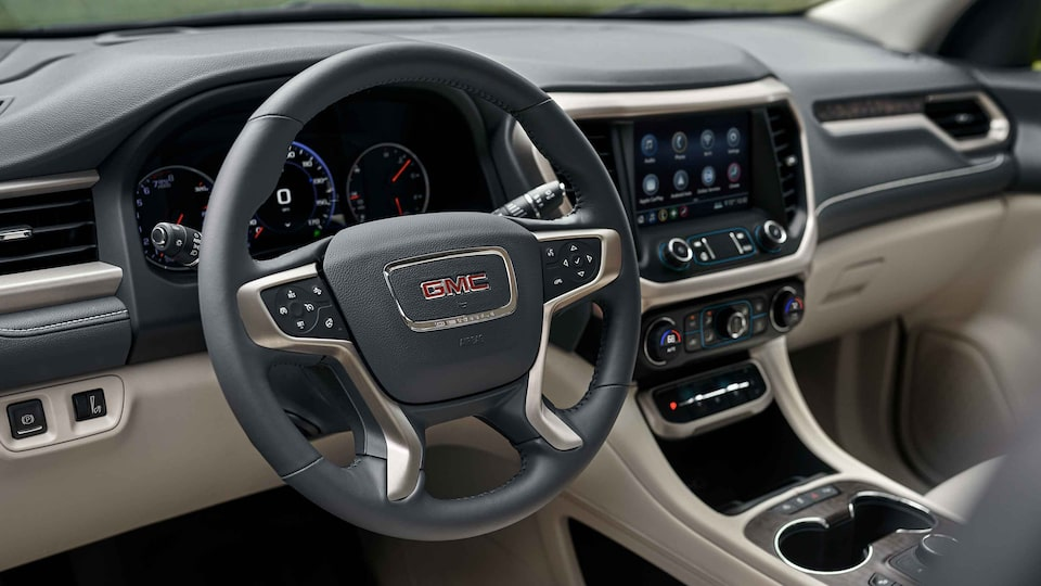 2021 GMC Acadia Denali Luxury Mid-size SUV steering wheel close up
