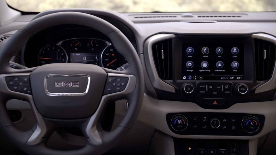 2021 GMC Terrain Small Crossover SUV Video Interior View Steering Wheel, Dashboard & Infotainment System