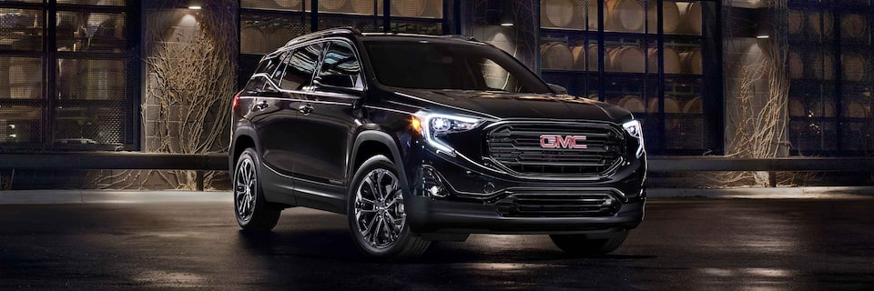 2021 GMC Terrain Elevation Edition with headlights on