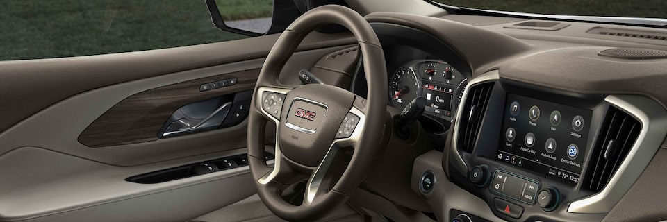 2021 GMC Terrain Small SUV Leather-wrapped, 4-spoke steering wheel