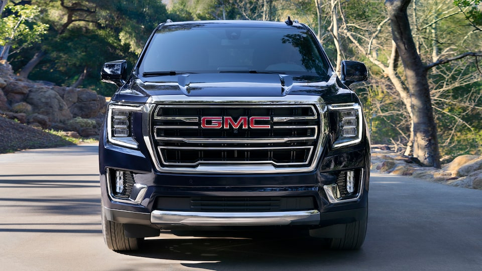 2021 GMC Yukon SLE SLT Full size SUV Exterior Front Grille View