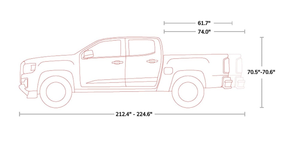 Diagram of 2021 GMC Canyon AT4 Small Off-Road Truck Specs