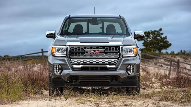 2021 GMC Canyon Denali Small Luxury Truck front grille view