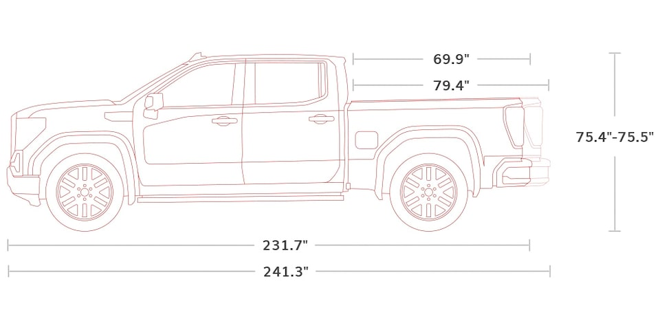 Diagram of 2021 GMC Sierra 1500 Pickup Truck Crew Cab  Specs