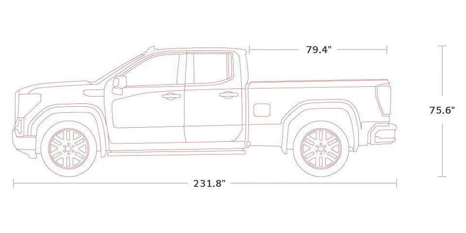 Diagram of 2021 GMC Sierra 1500 Pickup Truck Double Cab  Specs