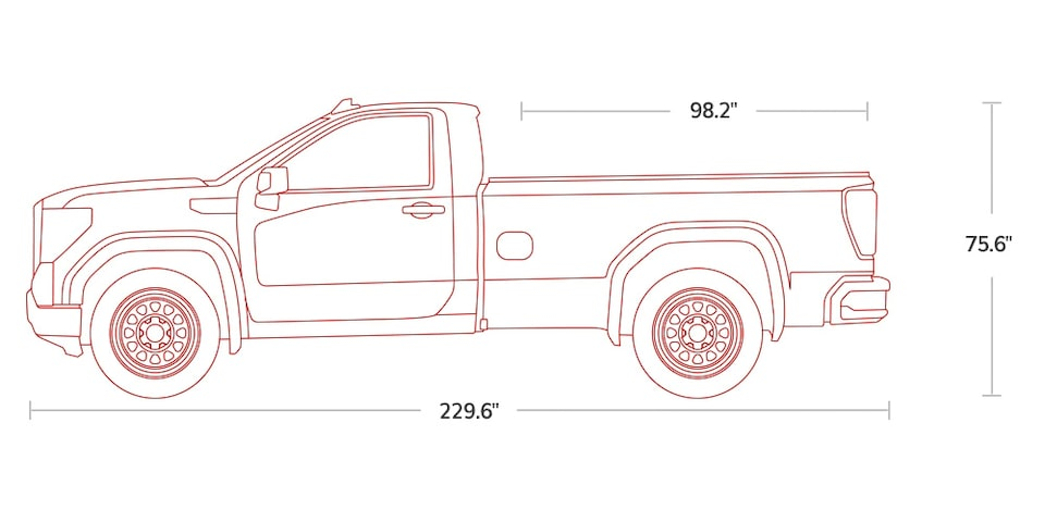 Diagram of 2021 GMC Sierra 1500 Pickup Truck Regular Cab Specs