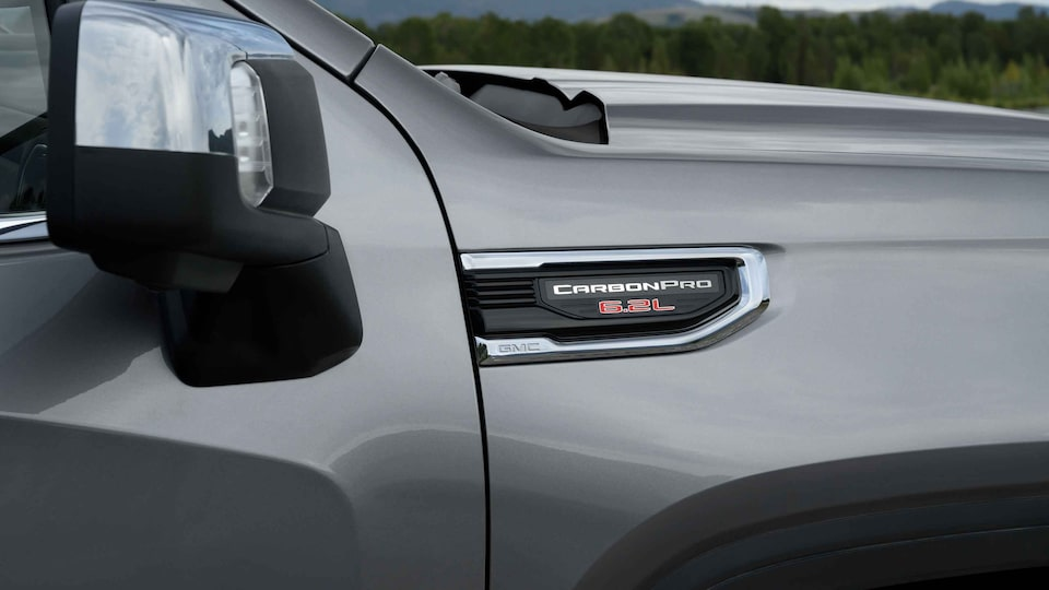 2021 GMC Sierra 1500 Denali Luxury Truck CarbonPro 5.2L Badge Close Up