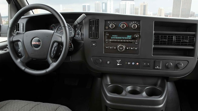 2021 GMC Savana Cargo Van with leather wrapped steering wheel