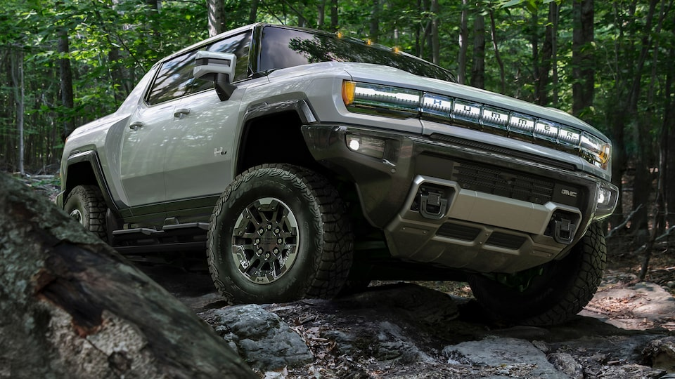 2020 GMC HUMMER EV Electric Truck front angle view off-road