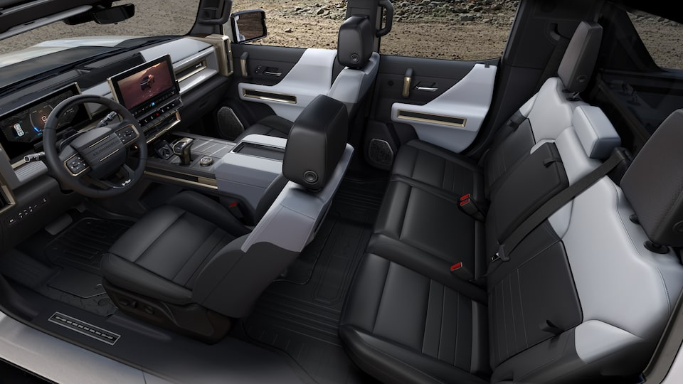 GMC HUMMER EV electric SUV front seat interior view