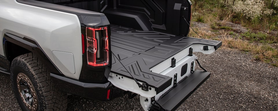 2020 GMC HUMMER EV Electric Truck rear MultiPro Tailgate open