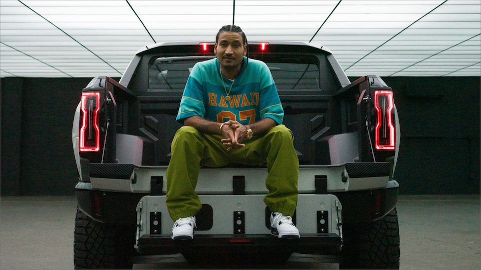 Don C in HUMMER EV electric truck bed