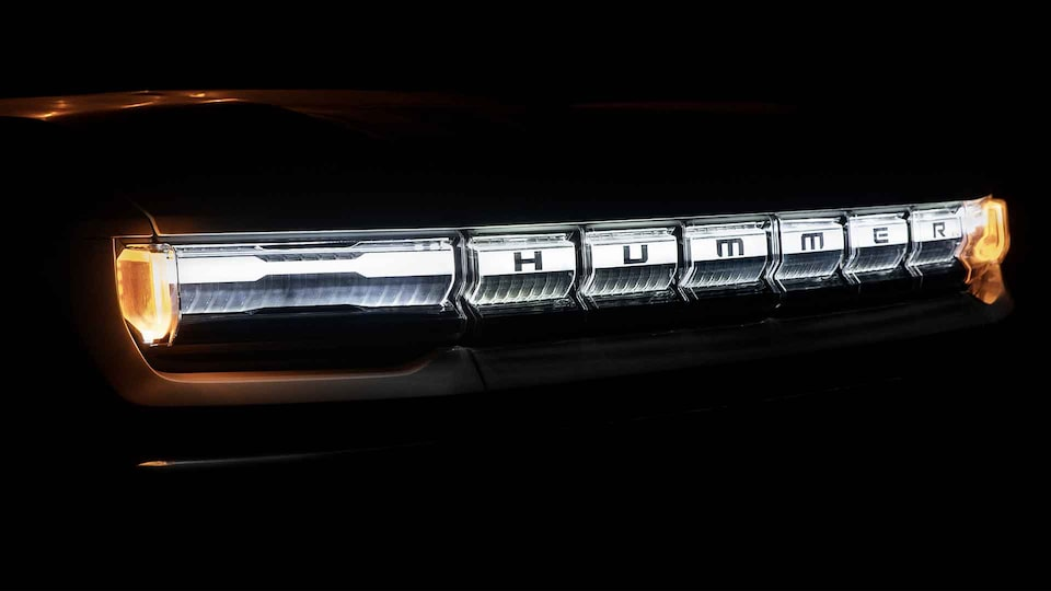 2020 GMC HUMMER EV electric truck headlights close up