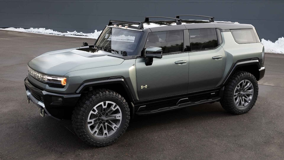 2023 GMC HUMMER EV electric SUV front side angle view