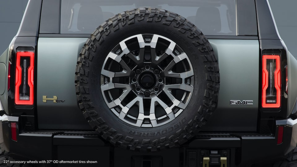GMC HUMMER EV electric SUV rear tire close up