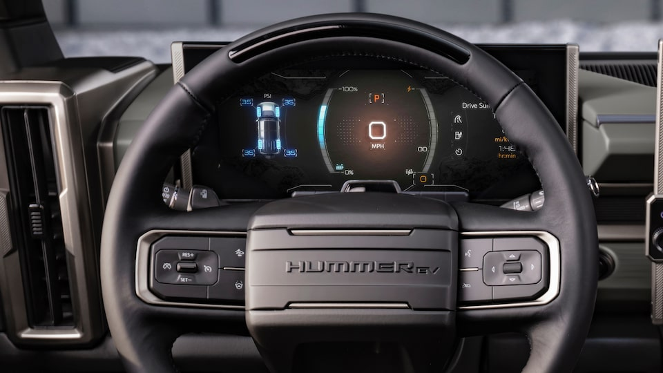 GMC HUMMER EV electric SUV driver steering wheel