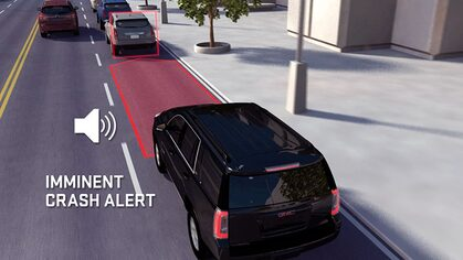 Click to watch a video about the forward collision alert available for GMC vehicles.