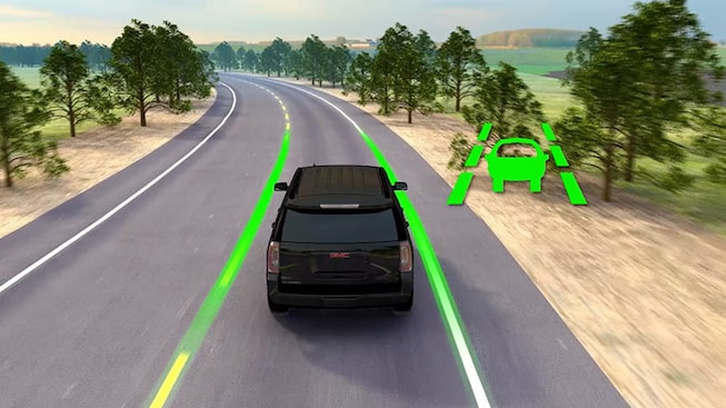 Click to watch a video about the lane departure warning  feature avialable  for GMC vehicles.