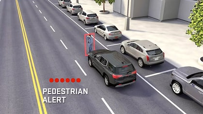 Click to watch a video about the pedestiran alert available for GMC vehicles.