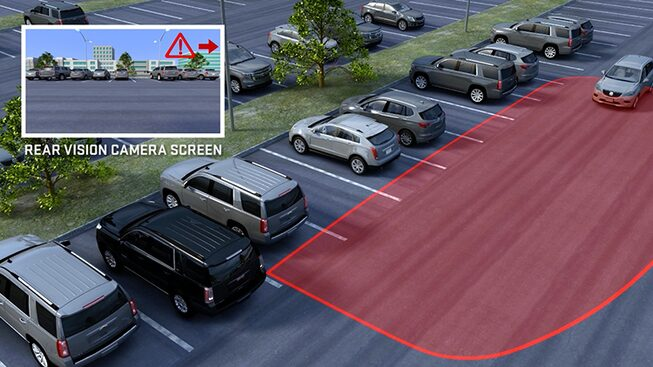 Click to watch a video about the cross traffic alert feature avialable  for GMC vehicles.